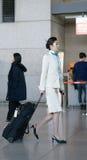 茵契隆国际性组织的a亚裔女性航空小队乘务员 图库摄影