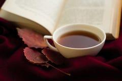 茶、红色秋叶和一本开放书 免版税图库摄影