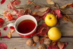 茶、苹果和五颜六色的叶子 免版税库存图片
