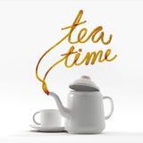 茶与茶壶和杯子3D翻译的时间行情 免版税库存照片