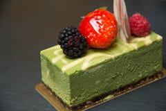 绿茶乳酪蛋糕 库存照片