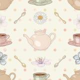 茶会无缝的样式 库存照片