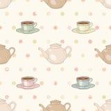 茶会无缝的样式 免版税库存图片