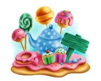 茶会的不可思议的甜点 免版税库存图片