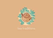 茶传统 茶壶和茶grenn或者黑色叶子 库存例证