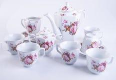 茶具或瓷茶具在背景 库存照片