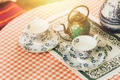 茶具装饰,中国茶罐 免版税图库摄影