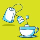 茶包和杯子-蓝色系列 免版税库存照片