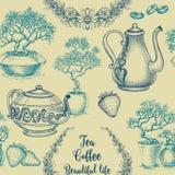 茶和咖啡无缝的样式 免版税库存照片
