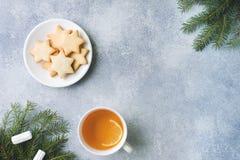 茶和曲奇饼,杉木分支,肉桂条,茴香星 圣诞节,冬天概念 平的位置顶视图 免版税图库摄影