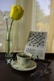 茶和郁金香 库存图片