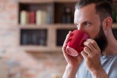 茶咖啡休息松弛习性饮料人红色杯子 免版税库存图片