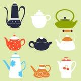 茶咖啡季节秋天冬天水壶集合 库存照片