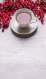 茶在一个白色圈子的在有莓果Kalina空间的一个白色茶碟文本的 免版税库存照片
