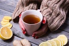 茶在妇女手上 免版税库存照片