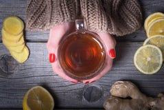茶在妇女手上 图库摄影
