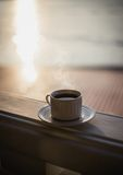 茶在日落的 免版税图库摄影