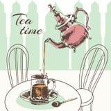 茶壶和杯子茶时间海报 库存照片