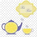 茶壶和杯子葡萄酒卡片 免版税库存图片