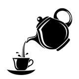 茶壶和杯子黑剪影。 免版税库存图片