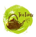茶壶和竹子分支 库存例证