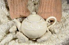 茶壶和羊毛织品 免版税库存图片
