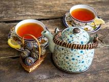 茶壶红茶绿茶老板 库存图片