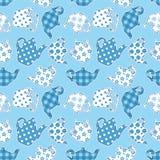 茶壶蓝色补缀品无缝的样式 免版税库存照片
