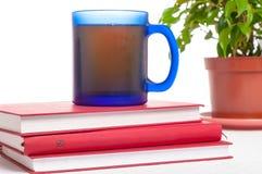 茶或咖啡在堆书 课本和饮料 stu 免版税库存照片
