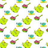 茶无缝的幼稚样式 库存照片