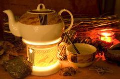 茶时间冬天 库存照片