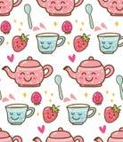 茶时间用草莓在kawaii样式背景中 库存例证
