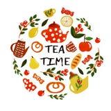 茶时间集合 库存例证