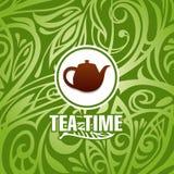 茶时间传染媒介模板 免版税库存图片