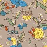 茶时间无缝的样式,棕色背景 Coloful传染媒介illu 库存图片