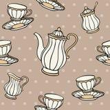 茶时间无缝的样式 免版税图库摄影