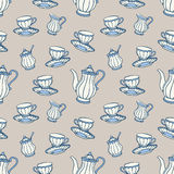 茶时间无缝的样式 库存图片