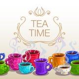 茶时间正方形横幅 免版税图库摄影