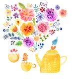 茶时间逗人喜爱的水彩卡片 免版税库存照片
