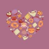茶曲奇饼心脏例证 免版税图库摄影