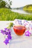 茶服务与在河的河岸的蓝色响铃 图库摄影
