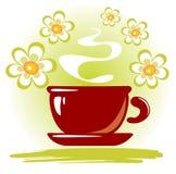 茶杯和花 免版税库存图片