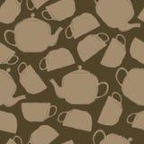 茶杯和茶壶的无缝的样式 免版税库存图片