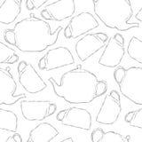 茶杯和茶壶的无缝的黑白的样式 免版税库存照片