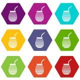 茶杯在阿根廷象集合颜色hexahedron使用了伙伴或terere 向量例证
