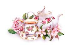 茶杯,茶罐,桃红色花-上升了和樱花 水彩 免版税图库摄影