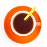 茶用在白色背景隔绝的柠檬 库存图片