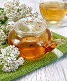 茶用在玻璃茶壶的欧蓍草在船上 免版税图库摄影