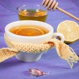 茶用柠檬和成份准备温暖的饮料的流感和寒冷的 库存图片