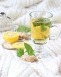 茶用薄菏和柠檬和姜 免版税库存照片